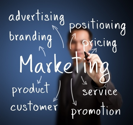 24970789 - business man writing marketing concept